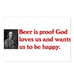 Ben Franklin Beer Quote.psd Postcards (Package of