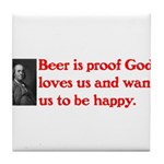 Ben Franklin Beer Quote.psd Tile Coaster