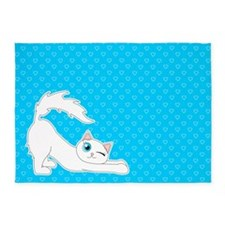 Cute Ragdoll Cat - White with Blue Eyes 5'x7'Area