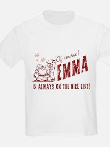 Nice List Emma Christmas Kids T-Shirt