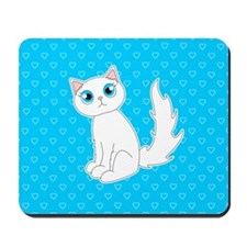 Cute Ragdoll Cat - White with Blue Eyes Mousepad