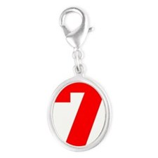 lucky seven Silver Oval Charm