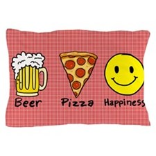 Beer Pizza Happiness Pillow Case