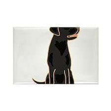 Cute Black Labrador Dog Rectangle Magnet