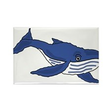 Blue Whale Art Rectangle Magnet