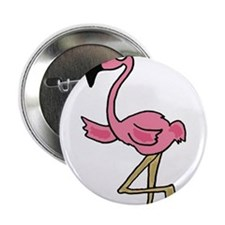 "Pink Flamingo Art 2.25"" Button"
