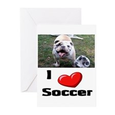 Soccer Playing Bulldog Greeting Cards (Package of