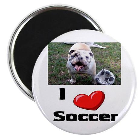 Soccer Playing Bulldog Magnet