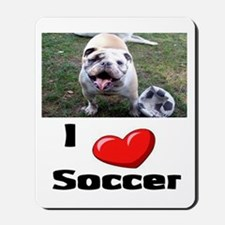 Soccer Playing Bulldog Mousepad