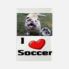 Soccer Playing Bulldog Rectangle Magnet