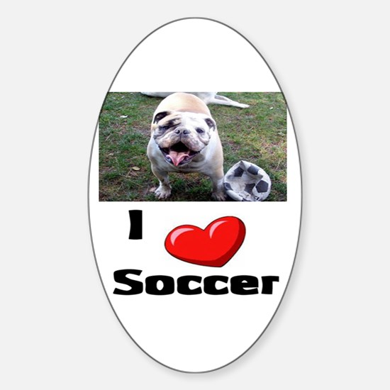 Soccer Playing Bulldog Oval Decal