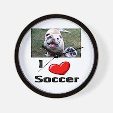 Soccer Playing Bulldog Wall Clock