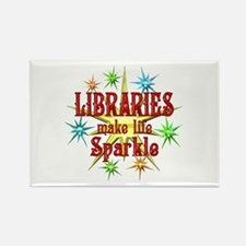 Libraries Sparkle Rectangle Magnet
