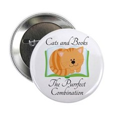 "Cute Cats and Books 2.25"" Button (10 pack)"