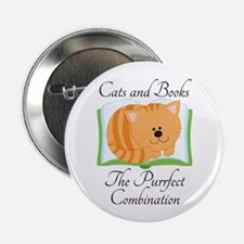 "Cute Cats and Books 2.25"" Button"
