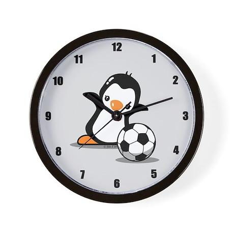 Soccer Penguin Wall Clock