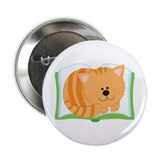 "Book and Kitty Cat 2.25"" Button"