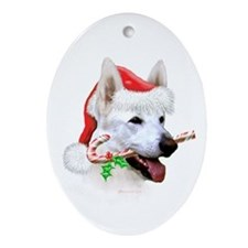 White Shepherd Christmas Oval Ornament