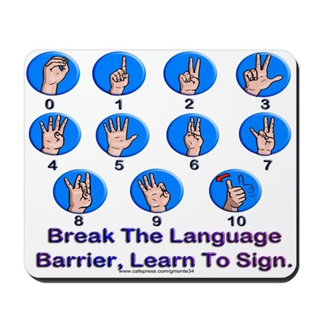 Sign Language Numbers Mousepad
