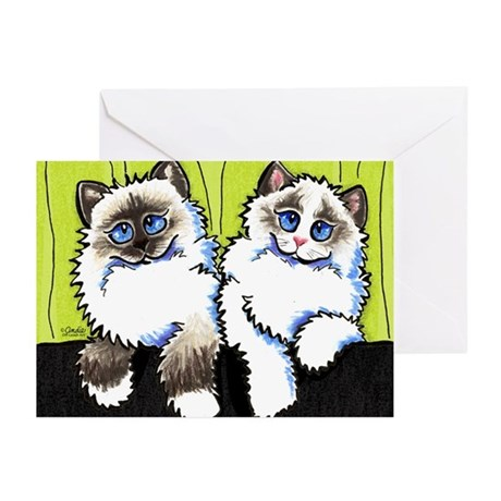 Pair of Dolls Off-Leash Art™ Greeting Cards (Pk of