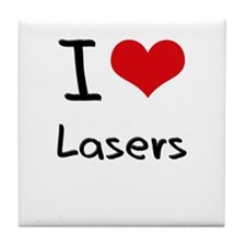 I Love Lasers Tile Coaster