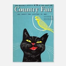 Black Cat and Bird, Vintage Poster 5'x7'Area Rug