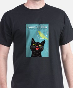 Black Cat and Bird, Vintage Poster T-Shirt