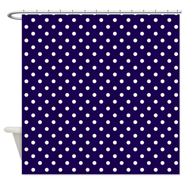 Navy Blue With White Dots Shower Curtain By Marlodeedesignsshowercurtains