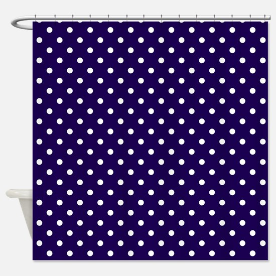 Navy Blue with White Dots Shower Curtain