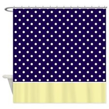 Navy Blue/Yellow w/Dots Shower Curtain