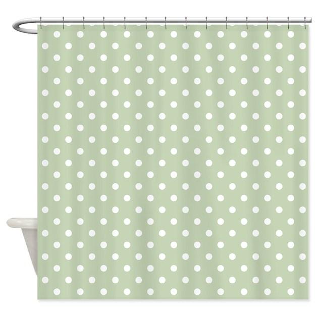 Light Green W White Dots Shower Curtain By Marlodeedesignsshowercurtains