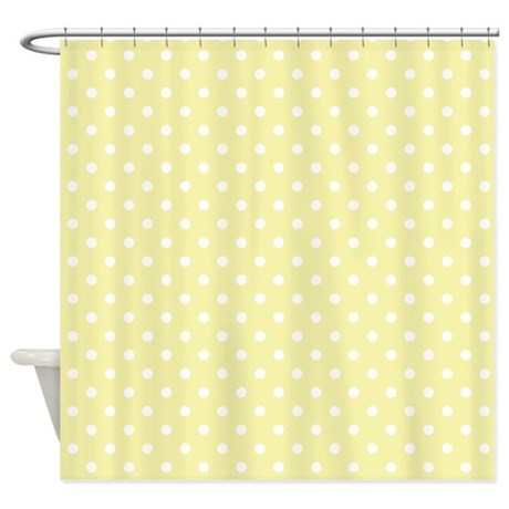 yellow with white dots shower curtain by marlodeedesignsshowercurtains. Black Bedroom Furniture Sets. Home Design Ideas
