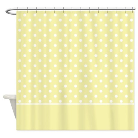 yellow with white dots 2 shower curtain by marlodeedesignsshowercurtains. Black Bedroom Furniture Sets. Home Design Ideas