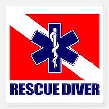 """Rescue Diver (emt) Square Car Magnet 3"""" x 3"""""""