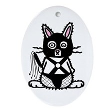 BDSM Bunny Oval Ornament