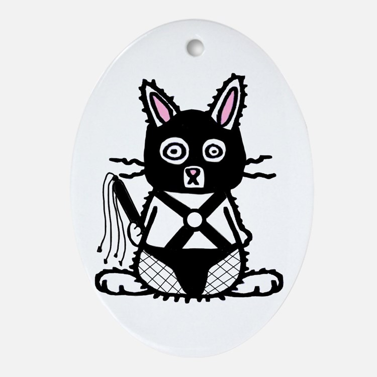 BDSM Bunny Oval Ornament