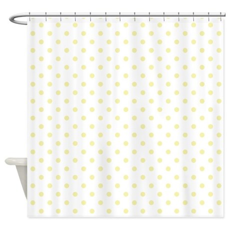 White w Yellow Dots Shower Curtain by