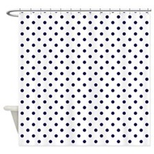 Navy Blue Dots Shower Curtain