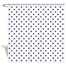 Navy Blue Dots Shower Curtain