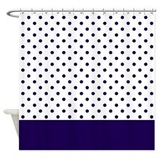 Navy Blue Dots 2 Shower Curtain