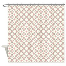 Brown Circles & Pink Dots Shower Curtain
