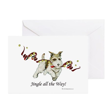 Runaway with Xmas Fox Terrier Greeting Cards (Pack