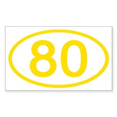 Number 80 Oval Rectangle Decal