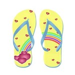 Rainbow and Hearts Flip Flops