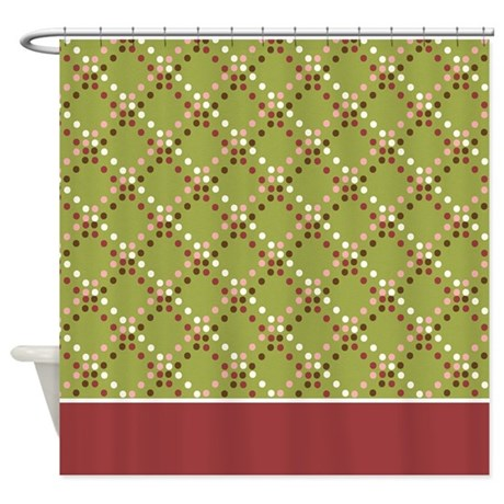 Brown Pink Red White Dots 2 Shower Curtain By MarloDeeDesignsShowerCurtains