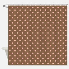 Brown with Pink Dots Shower Curtain