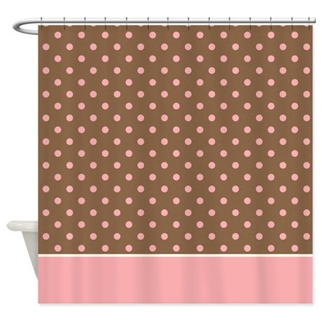 Brown with Pink Dots 2 Shower Curtain