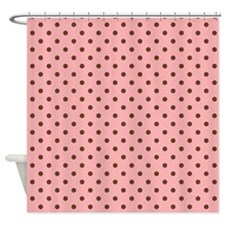 Pink with Brown Dots Shower Curtain