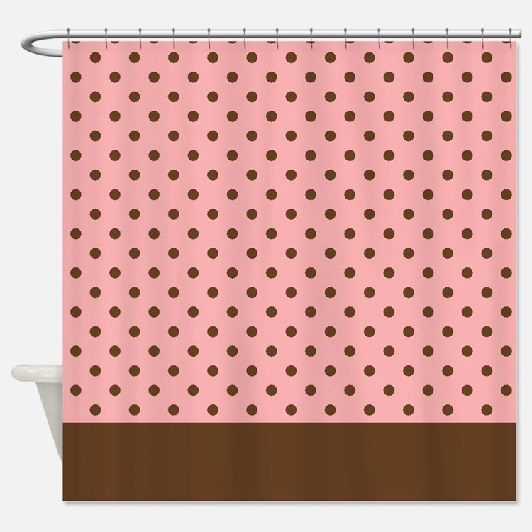 Pink with Brown Dots 2 Shower Curtain