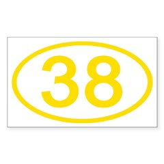 Number 38 Oval Rectangle Decal